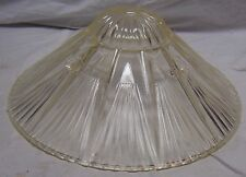 "VINTAGE ART DECO 3 HOLE CLEAR RIBBED GLASS HANGING LAMP SHADE - 10 1/4"" DIAMETER"