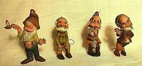 Elves Fairies Gnomes Dwarves Set of 4 Christmas Ornaments Hong Kong plastic VTG