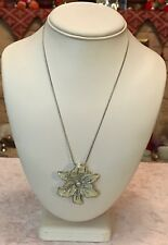 """Silver Tone 18"""" Pearl Centred Enamelled Flower Statement Necklace BNWOT (A300)"""