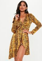 missguided Mustard Snake Print Wrap Mini Dress BNWT Size 10 RRP £35.00