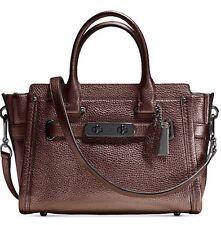 New Coach Swagger 27 metallic Leather 384Dark Antique Nickel bronze bag tote