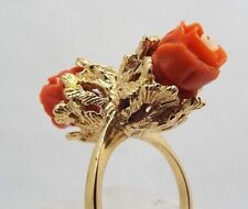 Vintage 14k Yellow Gold White and Pink Coral Flower Cocktail Ring Size 6.5