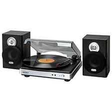 Jensen JTA-325 3-Speed Stereo Turntable with Stereo Speakers in Silver/Black New