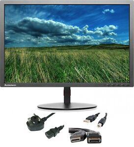"Lenovo Thinkvision T2324PA 23 "" 1080p Completo HD Monitor LED HDMI Dp USB VGA"