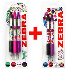Zebra Z-Grip Funky Floral Ballpoint Pens -1.0mm - 2x Black, 2x Purple, 1 x Pink