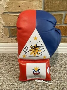 MANNY PACQUIAO SIGNED AUTO PHILIPPINE FLAG L BOXING GLOVE PSA Mayweather PROOF