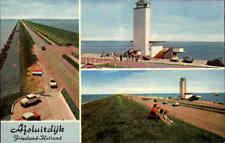 Holland ~1960 Auto Autos am Deich Afsluitdijk Friesland Niederlande Postkarte