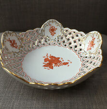 Herend Hungarian Porcelain Openwork Basket in Rust Chinese Bouquet  7415/AOG