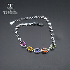 925 sterling silver precious gemstone bracelet 100% natural fancy color sapphire