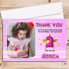 10 Personalised Girls Star Sparkle Birthday Thank you PHOTO Cards N54 ANY AGE