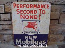"Mobilgas Mobil Pegasus 12"" x 16"" TIN SIGN Metal Station Garage Gas and Oil Ad"