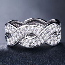 Infinity Women 925 Silver,gold,rose Gold Jewelry White Sapphire Ring Size 6-10