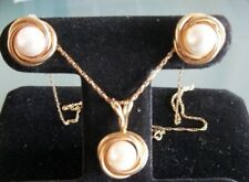 VINTAGE PEARL 14 KARAT YELLOW GOLD KNOT PENDANT & EARRING SET