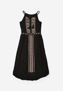 Justice Black Girl's Embroidered Maxi Dress - NEW NWT