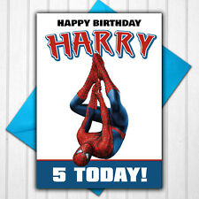 Spiderman Personalised 5th 6th 7th 8th 9th Birthday Card Any Name Age
