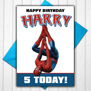 Spiderman Personalised Birthday Card Any Name Age 5th 6th 7th 8th 9th