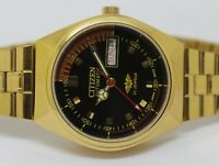 CITIZEN AUTOMATIC GOLD PLATED GENT VINTAGE BLACK DIAL DAY/DATE WATCH RUN ORDER