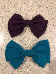 Cloth Hair Bow Clips Purple & Green