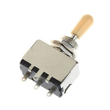 3 Way Chrome Box Style Closed Toggle Switch For Electric Guitar Cream Knob