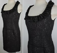 New sz 8 Oscar de la Renta F'07 black ruffle jacquard dress