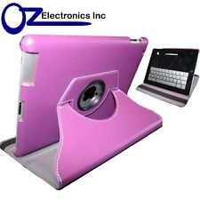 NEW 360 Degree Rotary PU Leather Case Cover For iPad 2 iPad 3 iPad 4 Purple