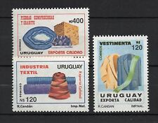 textile wool clothing mineral Gemstone Amethyst URUGUAY Sc#1366/68 MNH STAMPS