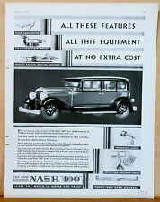 """New listing 1929 magazine ad for Nash - Nash """"400"""" All the Features with no extra Cost"""