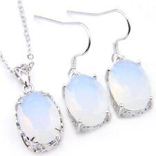 2 Pcs Lots Oval Cut Rainbow Moonstone Gemstone Silver Necklace Pendant Earrings