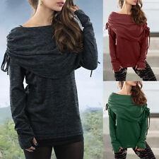 Women Winter Long Sleeve Cotton Shawl Wrap Top Ladies Warm Shirt Blouse Pullover