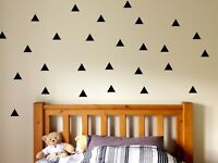50 Triangle Wall Decal, Children Nursery Decor, Triangle Stickers, Bedroom Decor