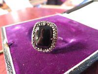 Schöner Silber Ring Groß Funkelnd Markasiten Onyx Jugendstil Art Deco Elegant