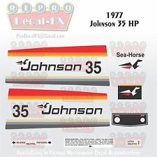 1977 Johnson 35HP Sea-Horse Outboard Reproduction 17 Pc Marine Vinyl Decals