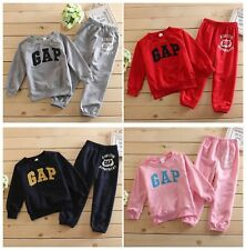 "2Pcs Children Baby Kids Girls/Boys Clothing Sets ""GAP"" Print Outfits Tops+Pants"