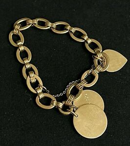 """Vintage 1950's 12k Gold Filled Charm Personalized Dated Bracelet MARKED 8"""" P10"""