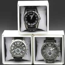LOT OF 3 FOSSIL WATCHES - COACHMAN, GAGE, & NATE STEEL LEATHER QUARTZ NR# 8270-8