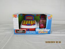 Kids cash register with play food and working caculator and scanner New