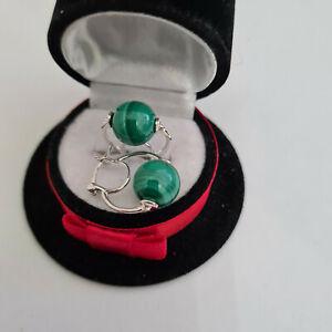 Malachite hoop earrings in sterling silver