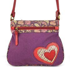 FOSSIL Patchwork Loving Hearts Crossbody Bag Purse Multi Fabric-Leather Trim