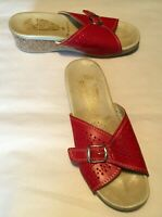 "Worishoffer Women's Shoes Red Leather Slide Sandal w Buckle 2"" Heel Size 36/5.5"