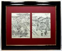 Japanese Antique Woodblock Print Pair Rainstorm Story c1870s