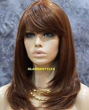 Straight Layered With Bangs Auburn Mix Full Synthetic Wig Heat Ok Hair Piece NWT