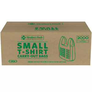 Member's Mark Small T-Shirt Carry-Out Thank You Bags, 2,000 Count, Plastic Tote