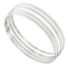 Set of 4 XL Bangle Bracelets Silver Tone Sussex Metal Thin USA Made