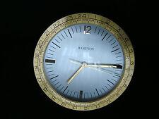 VINTAGE HAMPTON WORLD TIME QUARTZ TABLE/DESK BRASS CLOCK SWISS MADE