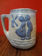 Antique DUTCH BOY & GIRL KISSING Stoneware Crock Pitcher Blue & White ~FAST S/H~