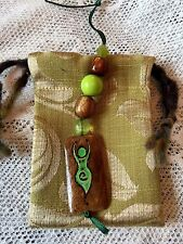 Green Pagan Goddess Hanging Charm & Pouch Handmade Beaded Amulet Talisman Witch