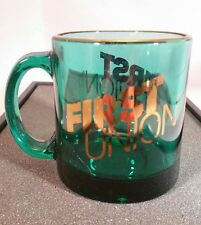 Vintage First Union Mug -FUNB - Bank- Green with Gold lettering -Made in the USA
