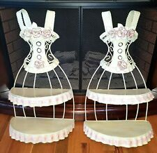 Decorative Girls Petticoat Corset Shaped Hanging Wall Shelves With Roses