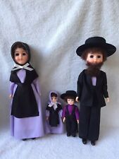 AMISH MAN WOMAN & CHILDREN PLASTIC DOLL WITH SLEEPY EYES W/BOX & AMISH INFO NOTE
