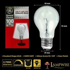 GE 100w 240v Edison Screw ES E27 Mini GLS Dimmable Clear Light Bulb